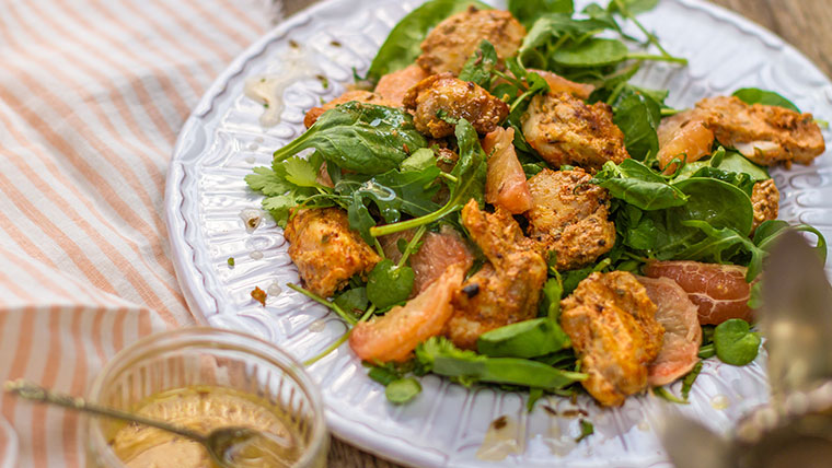 Chicken Salad with Pink Grapfruit and Cumin dressing