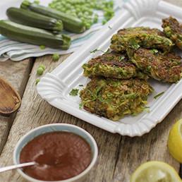 Spicy Courgette and Pea Fritter