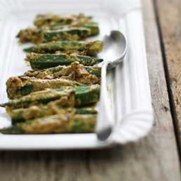 Stuffed Okra in a Yoghurt Sauce