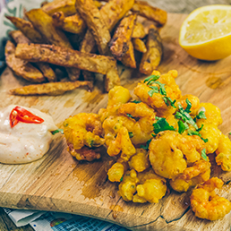 Indian Scampi with Masala Chips