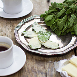 White Chocolate Mint Leaves