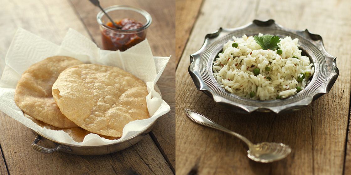 poori and cumin rice