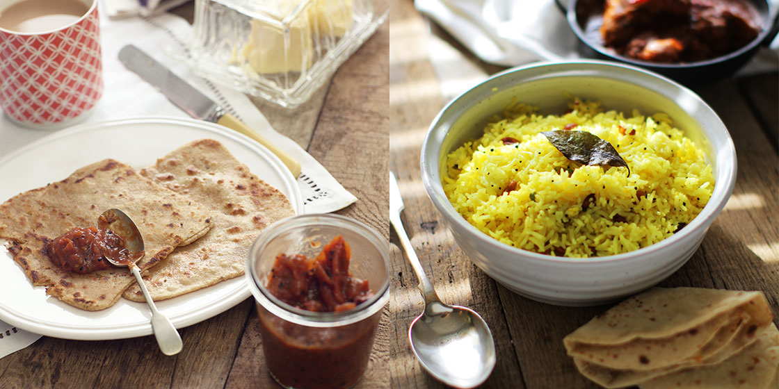 parantha and lemon rice