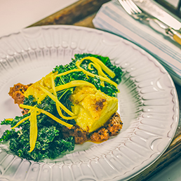 Kasundi Halibut with Cumin Kale Crisps